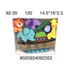 92-35 Деревянная игрушка Корабль с животными, 120 шт. в кор.