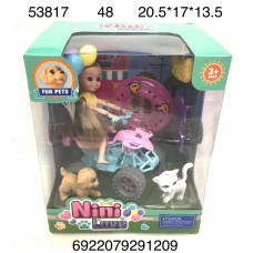 53817 Кукла на мотике с животными, 48 шт. в кор.