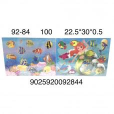 92-84 Деревянный пазл-вкладыш Морские животные, 100 шт. в кор.