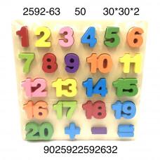 2592-63 Деревянная игрушка (цифры, доска-сортер), 50 шт. в кор.