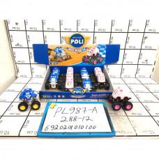 Машинки Поли 12 шт. в блоке, 288 шт. в кор. PL987-A
