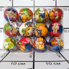 Мячики пенка с мультяшками, 12 шт. в блоке