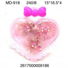 MD-918 Украшения в шкатулке Сердце 8 шт. в блоке, 30 блока . в кор.