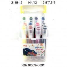 2115-12 Фломастеры в футляре 12 шт. в блоке, 144 шт. в кор.