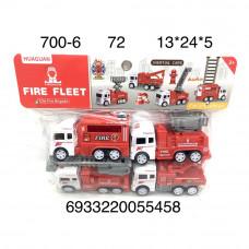 700-6 Машинки Пожарные 4 шт. в наборе, 72 шт. в кор.