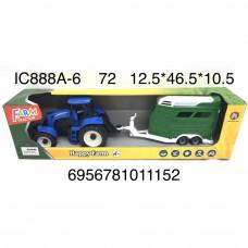 IC888A-6 Трактор с прицепом Счастливая ферма, 72 шт. в кор.
