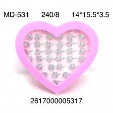 MD-531 Набор колец для девочек 8 шт в блоке, 30 блока. в кор.