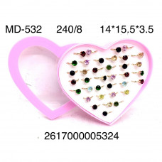 MD-532 Набор колец в сердце 8 шт в блоке, 30 блока в кор.